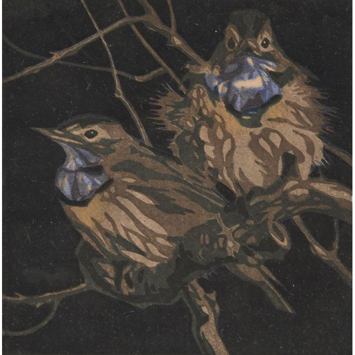 Norbertine Bresslern-Roth, (Austrian, 1891-1978), Two Birds in a Tree, color linocut, 5