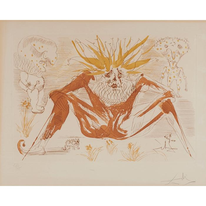 Salvador Dali, (Spanish, 1904-1989), Le Fou (from Le Cirque), 1965, color etching, 14