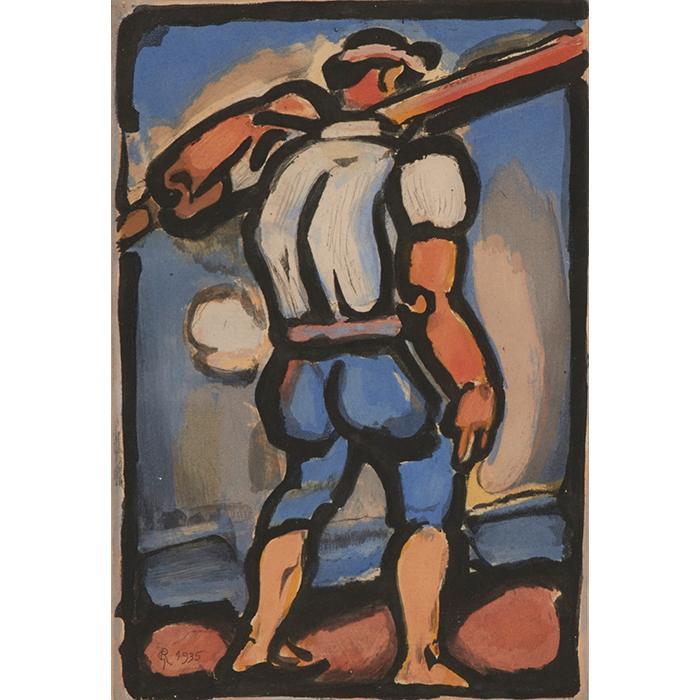 Georges Rouault, (French, 1871-1958), Chemineau (from Passion), 1935, color aquatint, 11.75