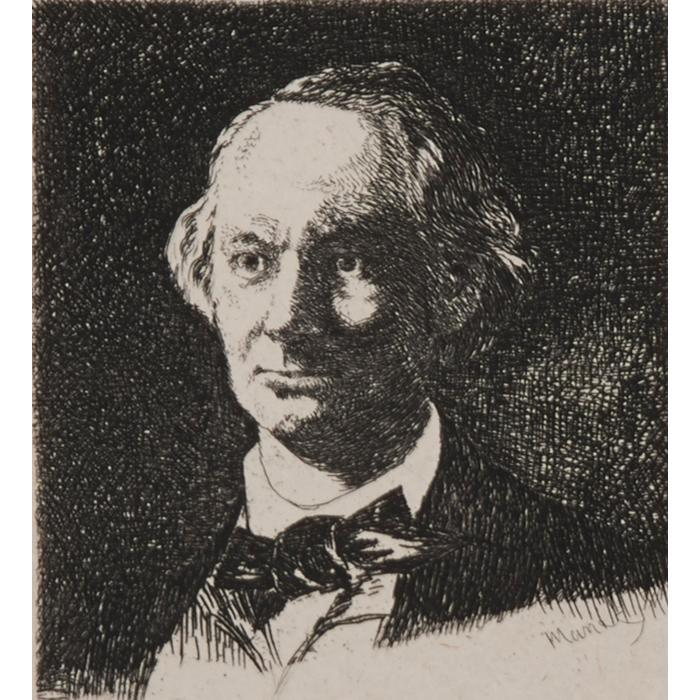 Edouard Manet, (French, 1832-1883), Portrait of Charles Baudelaire, etching, 3.75