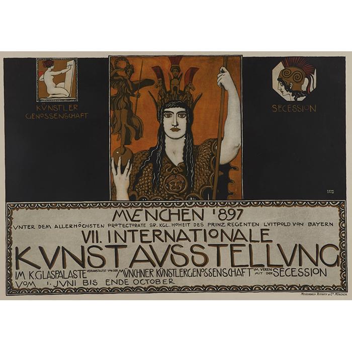 Franz von Stuck, (German, 1863-1928), Muenchen 1897, VII Internationale Kunstausstellung, color lithograph, 24