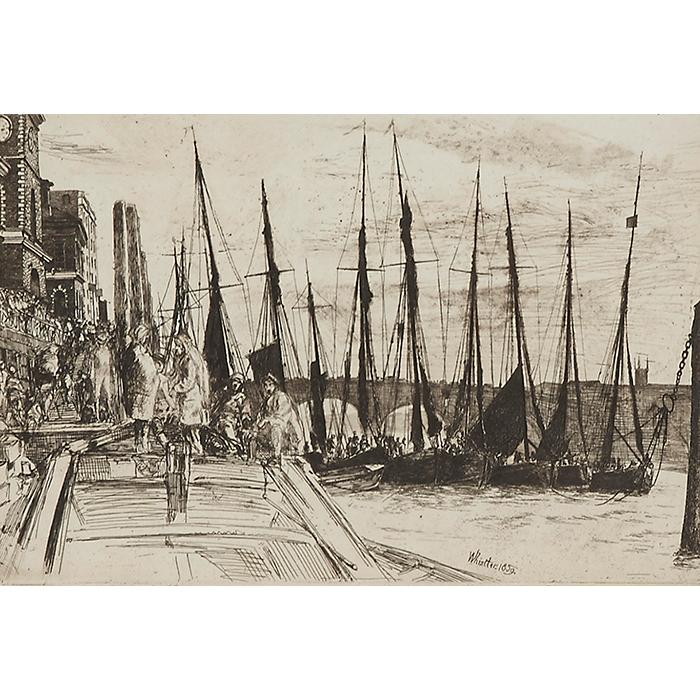 James Abbott McNeill Whistler, (American, 1834-1903), Billingsgate, 1859, etching, 6