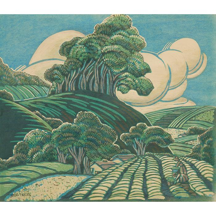 Hazel Frazee, Landscapes (a group of four works), color woodcuts with hand additions, largest 15