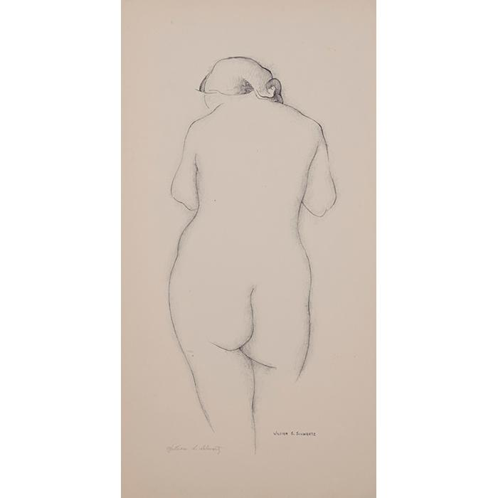 William Samuel Schwartz, (American/Russian, 1896-1977), Nude, lithograph mounted to glossy paper, 11.25