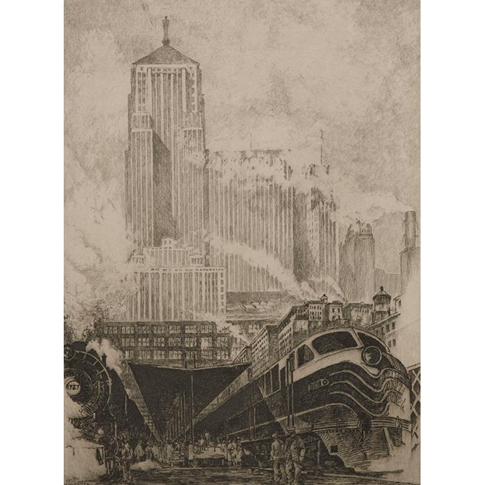 Kent Hagerman, (American, 1893-1977), Trackside, Chicago, c. 1945-1950, etching, 10