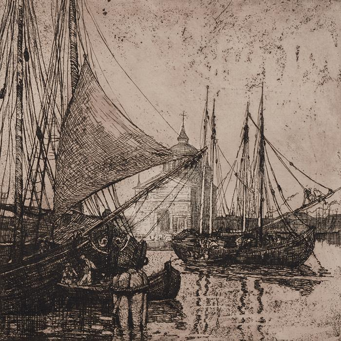 Karl Albert Buehr, (American, 1866-1952), Ships at Venice, c. 1890, engraving, 16.25