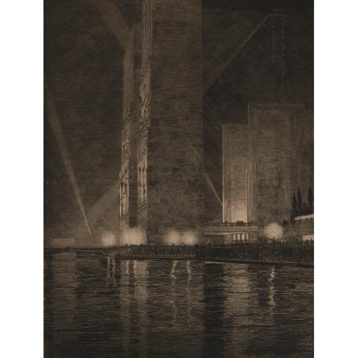 Gerald Geerlings, (American, 1897-1998), Grand Canal, America, 1933, drypoint, 12