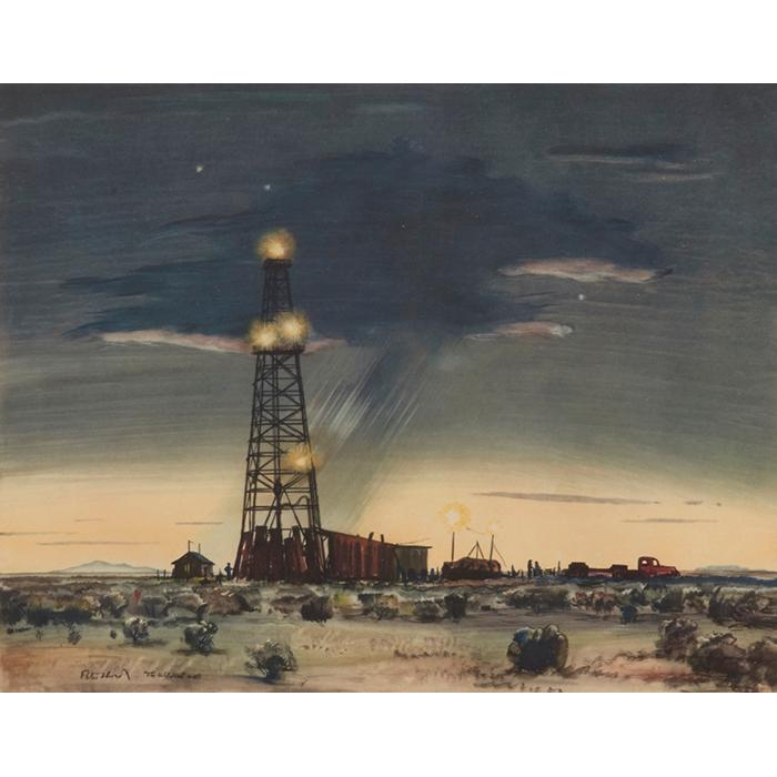Peter Hurd, (American, 1904-1984), The Wildcat Well, color lithograph, 8.5