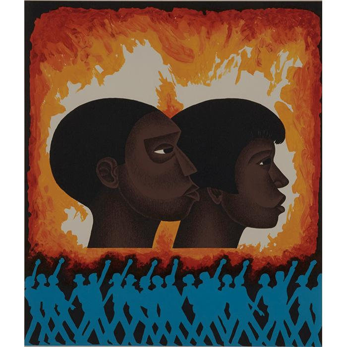 Elizabeth Catlett, (American, 1915-2012), A Second Generation, 1992, color lithograph, 15.75