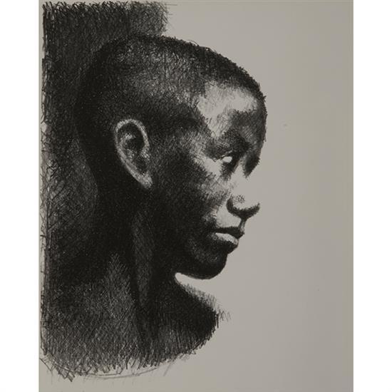 Ernest Crichlow, (American, 1914-2005), Ronnie, c. 1952, lithograph, 15.5