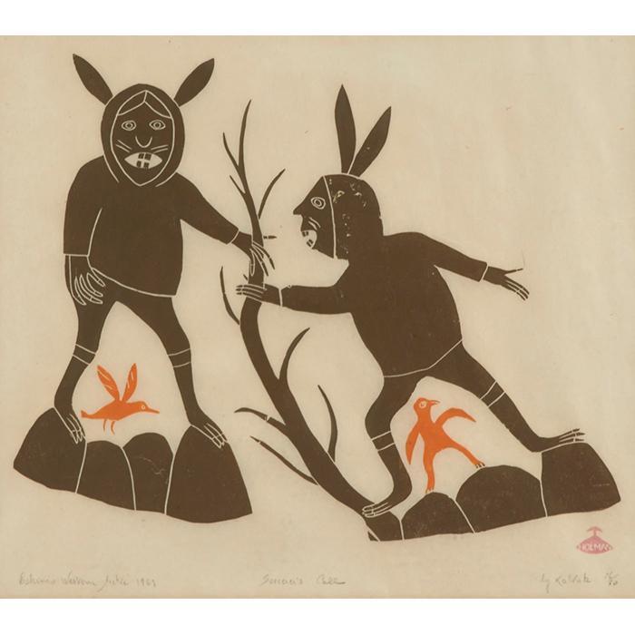 Helen Kalvak, (Inuit, 1901-1984), Sorcerer''s Call (Eskimo Western Arctic), 1969, stonecut, 12