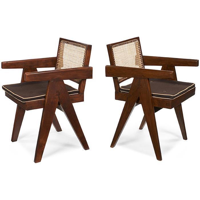 Pierre Jeanneret (1896-1967) V-Leg Armchairs, pair, model PJ-SI-28-A 20