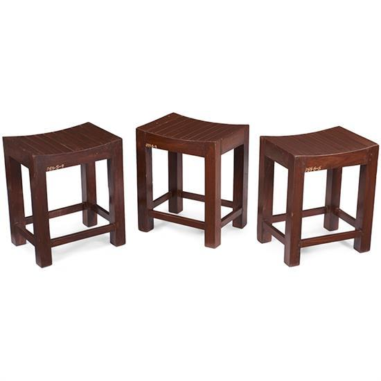 Pierre Jeanneret (1896-1967) low stools, three 15.75