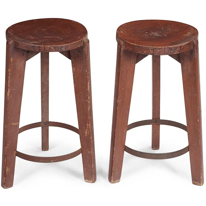 Pierre Jeanneret (1896-1967) Round Stool, pair, model PJ-SI-22-A 15