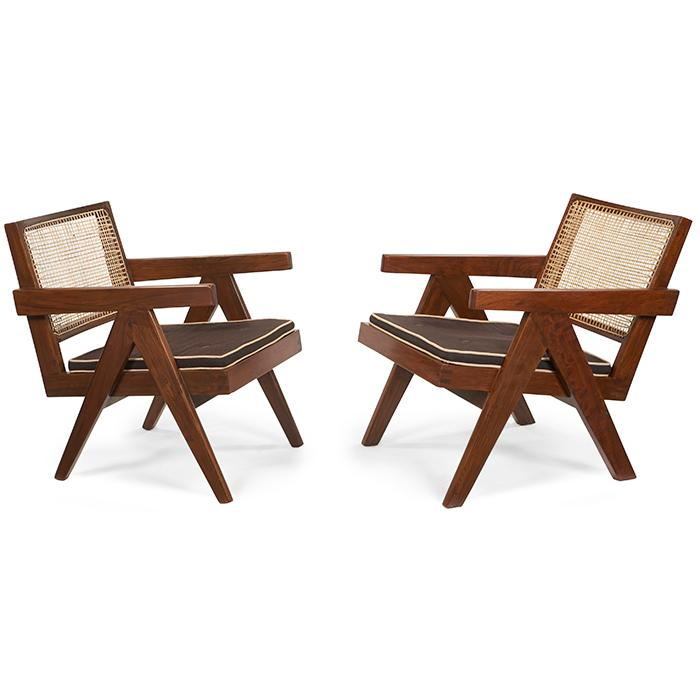 Pierre Jeanneret (1896-1967) Easy Armchair, pair, model PJ-SI-29-A 20.5