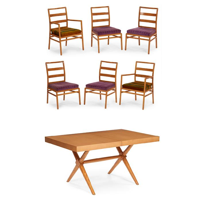 T.H. Robsjohn-Gibbings (1905-1976) for Widdicomb dining table and six chairs table: 58