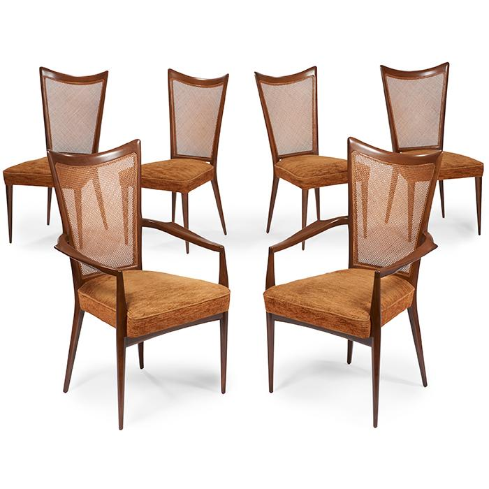 Melchiorre Bega, attribution dining chairs, six 23.5