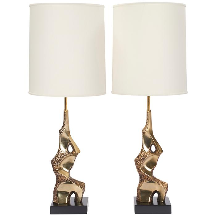 Laurel Lamp Co. Brutalist table lamps, pair bases: 8