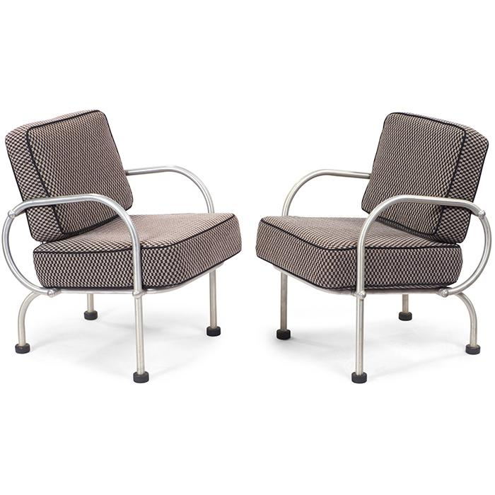 Warren McArthur (1885-1961) for Warren McArthur Corporation Biltmore Hotel lounge chairs, pair 20.5
