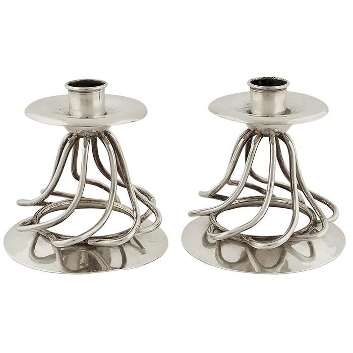 William Spratling (1900-1967) candleholders, pair 4.25