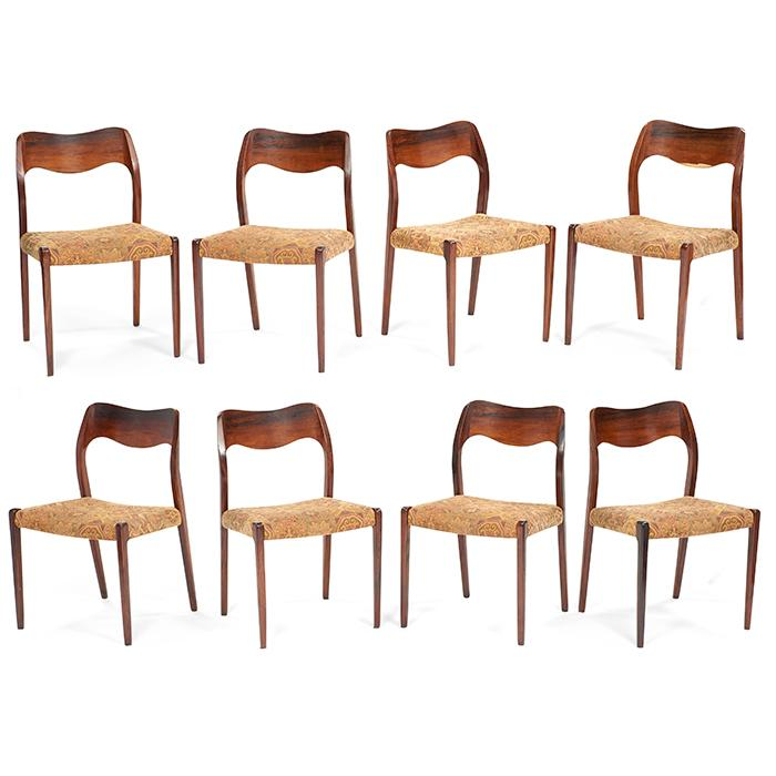 Niels Moller (1920-1981) for Dyrlund Model 71 dining chairs, set of 8 19.5