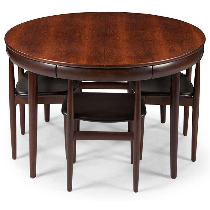 Hans Olsen (1919-1992) for Frem Rojle Mobelfabrik dining table and four chairs table: 47
