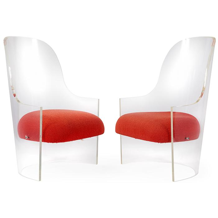 Vladimir Kagan (1927-2016), attribution lounge chairs, pair 26.5