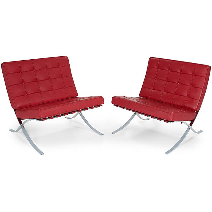 Mies van der Rohe (1886-1969) for Knoll Inc. Barcelona chairs, pair 30