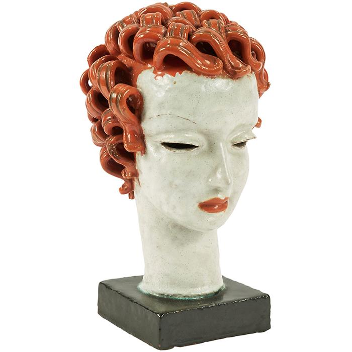 Rudolf Knorlein (1902-1988) for Goldscheider bust (Girl With Red Hair) 6