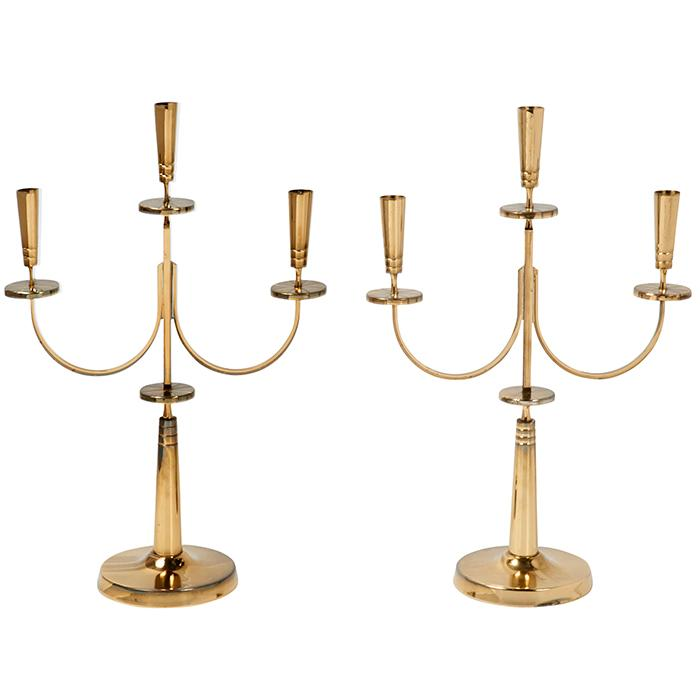 Tommi Parzinger (1903-1981) for Dorlyn Metalsmiths candlesticks, pair 13