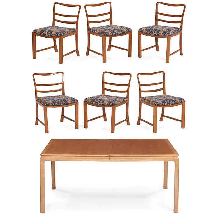 Edward Wormley (1907-1995) for Dunbar dining table and six chairs table: 66