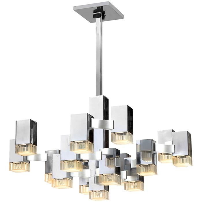 Gaetano Sciolari (1927-1994) for Lightolier Cubic 16-light hanging fixture as shown: 26.5