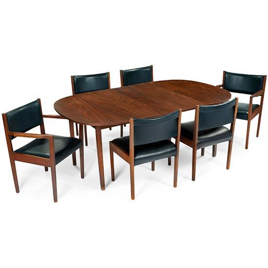Jens Risom (b. 1916) for Jens Risom Design, Inc. dining table and 6 chairs armchairs: 24