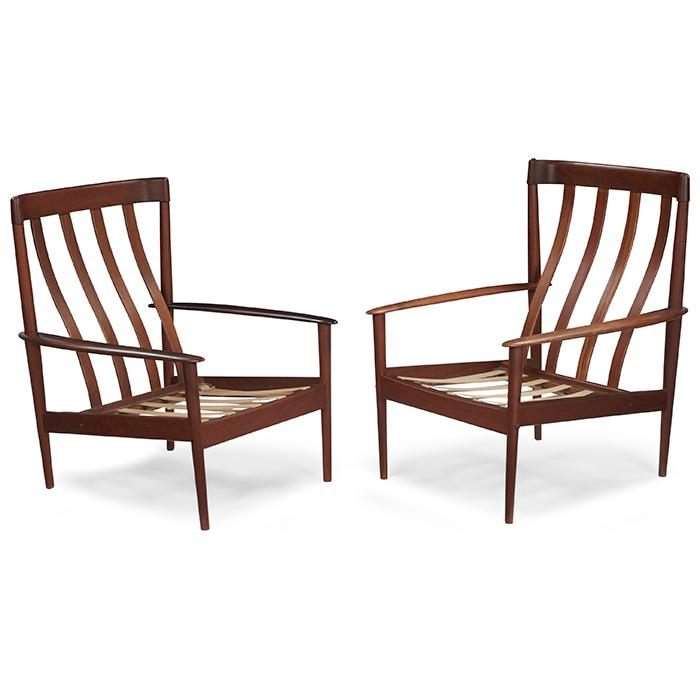 Grete Jalk (1920-2006) for Poul Jeppesens Mobelfabrik PJ 56 lounge chairs, pair 28.5