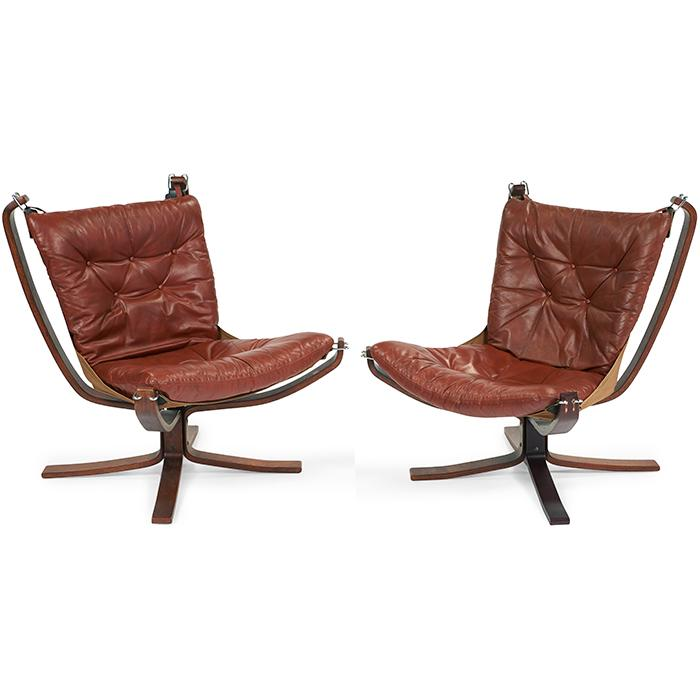 Sigurd Ressell (1920-2010) for Vatne Mobelfabrik check Falcon chairs, pair 30.5