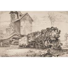 Reynold Henry Weidenaar, (American, 1915-1985), Last Run, mezzotint, 7.25