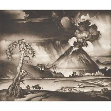 Reynold Henry Weidenaar, (American, 1915-1985), Valley of Wrath, etching, 10.5
