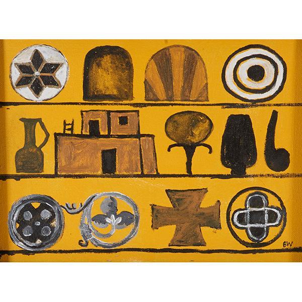 "Bernard Williams, (American, b. 1964), Kiva, 2003, oil on canvas, 9"" x 12"""
