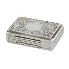 Kirwan & Co. Ltd. rectangular form snuff box with a peaked lid having engraved foliate decoration and a scalloped circular cartouche..