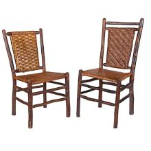 Old Hickory side chairs, two smaller: 18.5