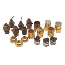 Period and Contemporary lamp socket parts, eighteen items average size: 1.5