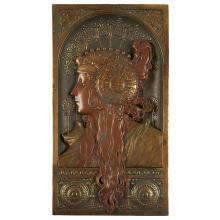 In the Style of Alphonse Mucha (1860-1939) Goddess plaque 8.75