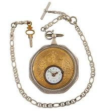 Breguet et Fils The Cavalcade concealed erotic open face pocket watch 2 3/8