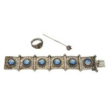 Filigree Jewelry Group micromosaic bracelet, floral ring and a floral stick pin bracelet: 6
