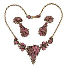Hollycraft costume jewelry demi-parure: necklace and earclips necklace: 15 1/2