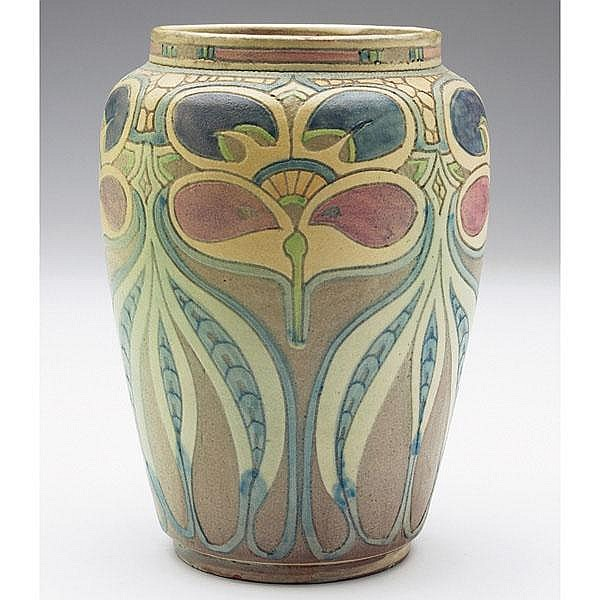 F.H. Rhead Pottery vase, shouldered and tapered