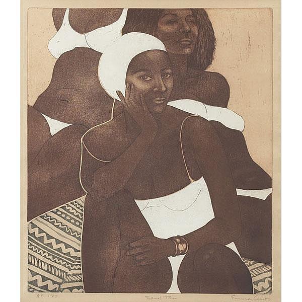 Emma Amos, Sand Tan, 1980, etching