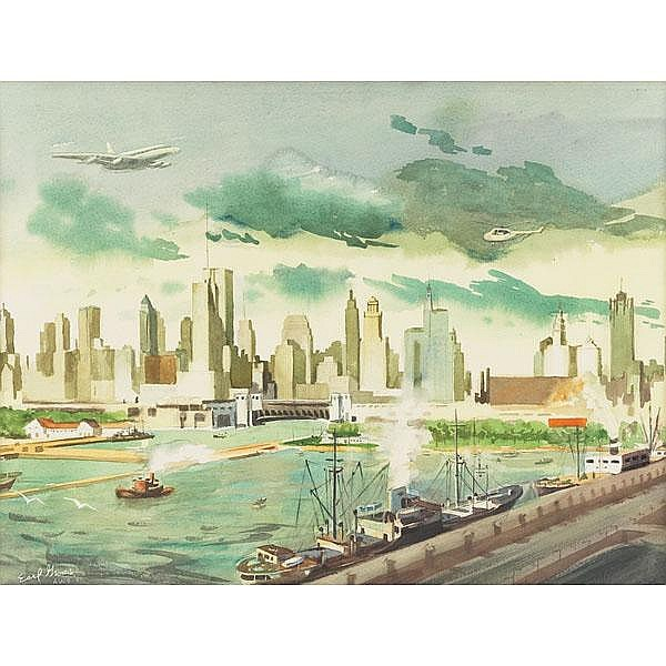 Earl Clifford Gross, Chicago,  watercolor