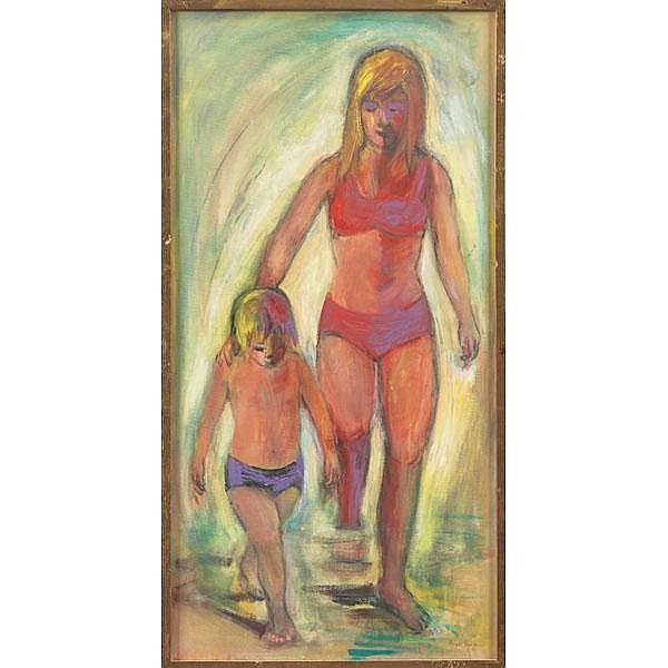 Bernice Lee Singer, At the Beach, c. 1970, oil