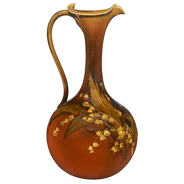 Matthew A. Daly (1860-1937) and Kataro Shirayamadani (1865-1948) for Rookwood Pottery Lily of the Valley ewer, #387C 6